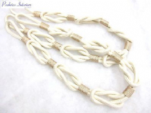 2 Rosa knotted rope curtain tiebacks Natural cream cotton 95cm ties tie back